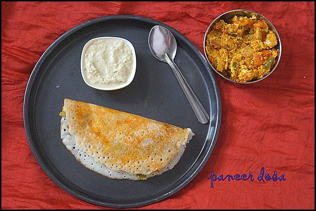 Paneer dosapaneer recipes nithyaskitchen paneer dosa is one variety of dosa which we tried sometime back while travelling to maduraiey had this vast array of about 100 dosa varieties and i was forumfinder Images