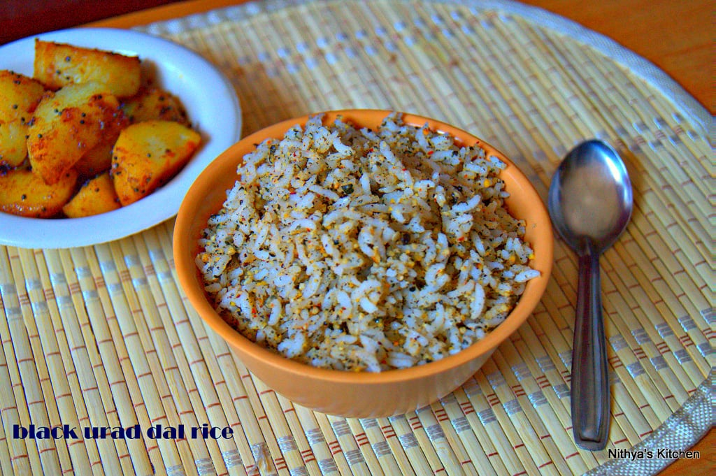 Black urad dal rice recipe nithyaskitchen rice is a staple food and being a south indian i do make a lot of rice varieties at homei also pack them for lunch with any accompaniment such as raita or forumfinder Images